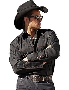 Stars & Stripes Hombre Western Camisa Saller Jack Negro