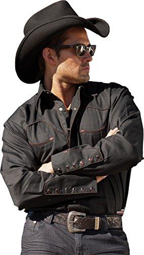 Stars & Stripes Hombre Western Camisa Saller Jack Negro Negro XXXL
