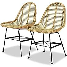 Festnight 2 pcs Chaise de Jardin Chaise de Salle à Manger en Rotin Naturel 2d557e30a080