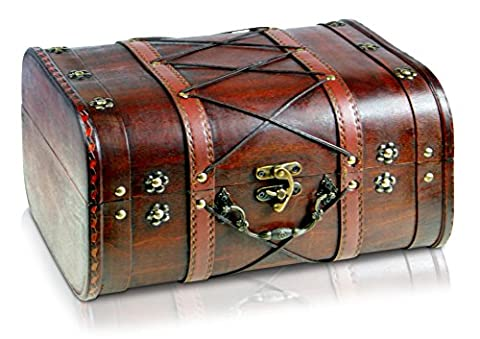 Pirate Treasure Chest Storage Box By Thunderdog - Durable Wood & Metal Construction - Unique, Handmade Vintage Design With A Front Lock - Striking Decorative Element - The Best Gift (Janis XL 32x26x20cm)