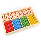 Enlarge toy image: Peradix 52 Spindles Wooden Number Sticks Mathematics Material Educational for Kid Child