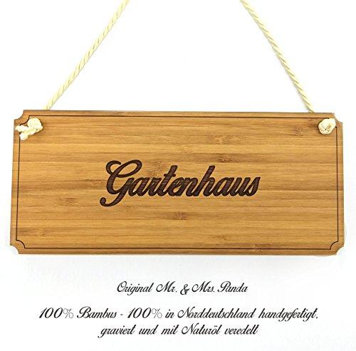 Mr. & Mrs. Panda Türschild Gartenhaus Classic Schild - 100% handmade aus Bambus - Landhaus, Shabby,...