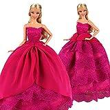 Miunana Hochzeitskleid Langer Spitze Zug Ballkleid Abendkleid Kleidung Kleider für Barbie Puppen