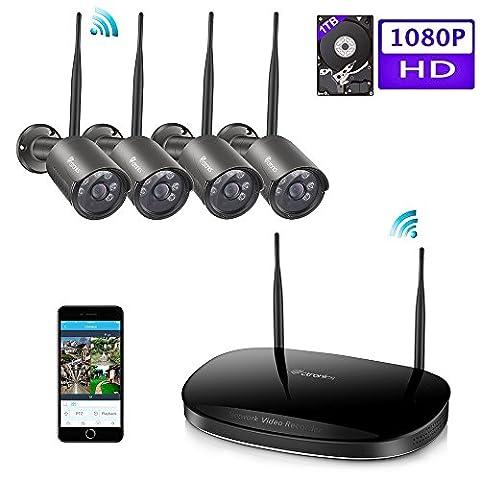 (1080P) Ctronics Drahtloses Überwachungskamera-Set 2.4G HD Wireless NVR System Inklusive 4 Stück drahtlosen wasserfesten 1080p Kameras mit Nachtsicht-Funktion für die Montage im Freien (4CH 1080P/1TB HDD)