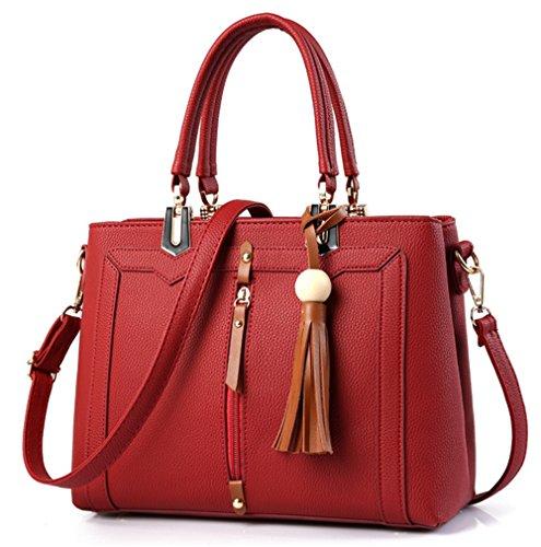Xinmaoyuan Borse donna Ladies Handbag grande pacchetto di capacità retrò pacchetto diagonale Pu quadrato piccolo sacchetto Rosso