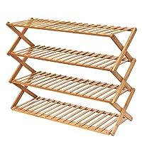 Hododou 4 Tier Bamboo Shoe Rack Foldable Shoe Shelves Plant Display Stand Storage Organizer 80cm Installation-Free