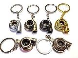 1x Turbo Lader Schlüsselanhänger aus Metall in 6 Farben Schlüssel KFZ PKW G60 G40 VR6 16V Turbolader mit drehendem Schaufelrad Anhänger ca 9,0 Lang & 2,9 Breit (silber)