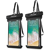 """ProCase Waterproof Phone Case Universal Dry Bag Pouch, for iPhone Xs Max/XR/X/8/7 Plus/6S Plus, Samsung Galaxy S10 Plus/ S10 E /S9/S8 Plus/Note 9 8 6 5, Pixel, up to 6.5"""" -2 Pack, Black"""