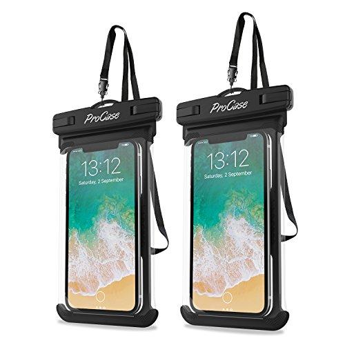 """Universal Wasserdichte Hülle, ProCase Hülle für iPhone XR/XS, 8/7/7 Plus/6S/6/6S Plus, Samsung Galaxy S9/S9 Plus/S8/S8 Plus/Note 9 8 6 5, Google Pixel 2 HTC LG Sony Moto bis zu 6.5"""" - 2 Pack, Schwarz"""