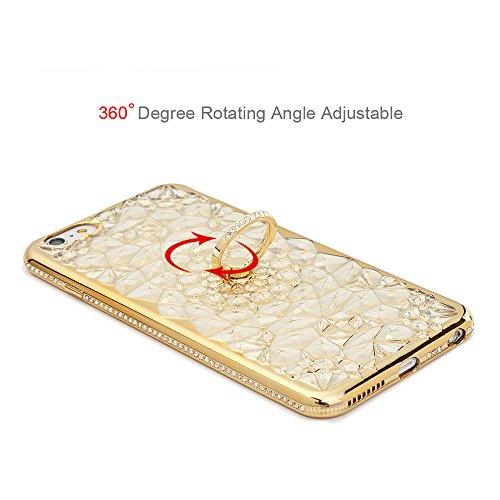 iPhone 6 Plus 6S Plus UltraSlim Case KASOS Handyhülle Schale TPU Etui Hülle Rückschale Protective Schützende Stoßdämpfung Cover Executive Design, Diamant Blumen mit Ring Ständer in Blau + Eingabestift Champagner Gold