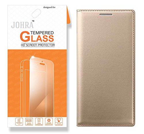 Samsung Galaxy J7 Prime Tempered Glass, Premium HD+ Tempered Glass Screen Combo Flip Cover Gold Golden Leather Flip Case Cover for Samsung J7 Prime Flip Cover