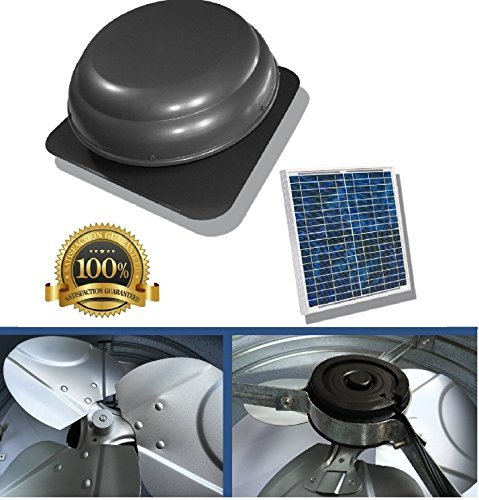 Premium Solar Attic Fan, Ultra Efficient Brushless DC Motor, Rust Protective Material by Brightwatts
