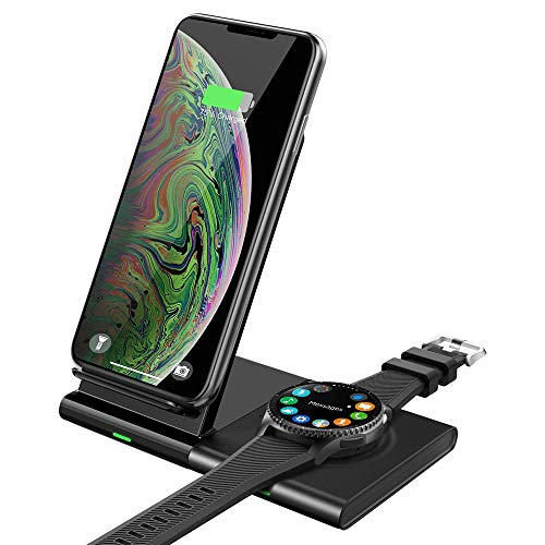YQG Qi Wireless Charger,Induktive Ladestation Schnellladegerät 2 in 1 Drahtlos Ladegerät Ersatz für S10/S10+/S10e/Galaxy Buds/Galaxy Watch 42/46mm/Gear S3/Galaxy Watch Active,für iPhone XS Max/XR