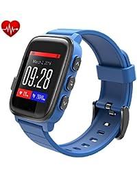 Rastreador de ejercicios Smartwatch SMAWATCH impermeable Bluetooth 4.0 Pulsera inteligente Reloj de ritmo cardíaco Sleep Monitor de actividad Reloj de pulsera podómetro para Android IOS Smartphones (Azul)