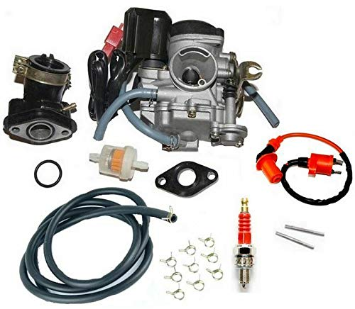 Unbranded CARBURATORE Automatico + Candela Kit per Rex RS600 Scooter 4 Tempi 50cc