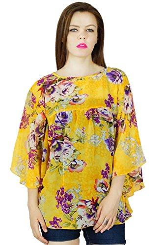 Bimba Frauen Gelb benutzerdefinierte Georgette Top mit Kimono-Ärmeln Blumenbluse Tunika -