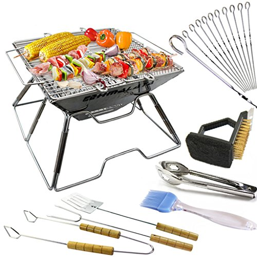 Barbecue Grill, Portable Edelstahl Holzkohle Barbecue Camping Outdoor BBQ Utensil Barbecue Werkzeuge 36 * 34 * 22cm