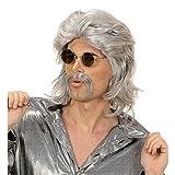 NET TOYS Graue Männer Perücke 70er Jahre mit Bart Herrenperücke Männerperücke Faschingsperücke Karnevalsperücke grau
