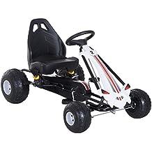 HOMCOM Coche de Pedales Go Kart Racing Deportivo con Asiento Ajustable Embrague y Freno Juguete Exterior