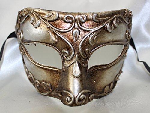 Herren Silber Bronze alten römischen Kaiser Colombina Stil Half Face venezianische Augenmaske