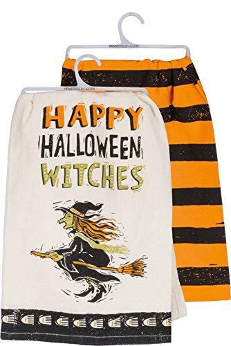 Cathy Heck Studios Happy Halloween Hexen Geschirrtuch Set-Primitives by Kathy