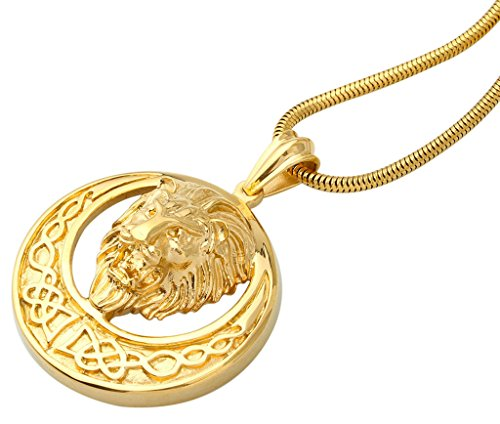 Löwen Anhänger Gold (Aooaz Herren Anhänger Edelstahl Anhänger Gold Löwen Kopf Punk Hochzeit Halsketten Anhänger Für Männer 5*5 CM)