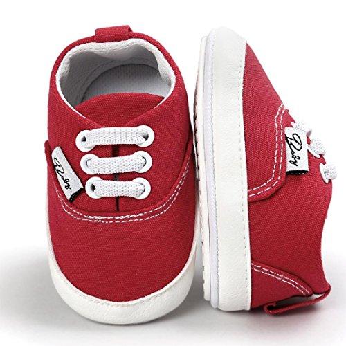 Hunpta Baby Mädchen Jungen Canvas Schuh Freizeitschuhe Sneaker rutschfest weiche Sohle Kleinkind (Alter: 6 ~ 12 Monate, Hot Pink) Rot