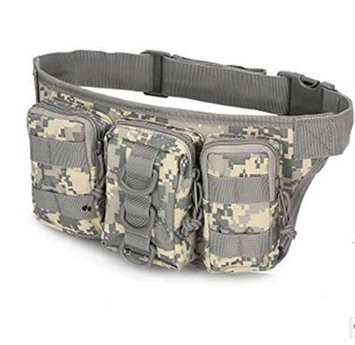 Spohife Tactical Hüfttasche Bauchtasche Militär Gürteltasche Reißverschluss für Outdoor Sport Trekking Wandern Running ACU Camo