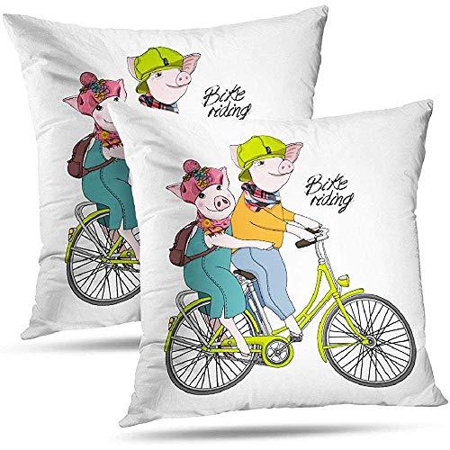 DayToy Fahrrad Liebeskissenbezug Wurfkissenbezüge Schwein mit Bike Drawn Dressed Tierkorb 2er Pack Schwein Bike Dressed