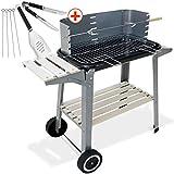 Deuba - Barbecue Mobile 83x44x87cm avec Ensemble de Couverts 6 pièces • Grille réglable • avec Roues et poignée • métal et Bois - BBQ Charbon de Bois grillade