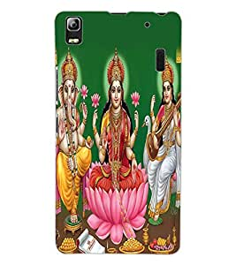 ColourCraft Lords Ganesha Maa Laxmi and Maa Saraswati Design Back Case Cover for LENOVO A7000 TURBO
