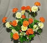 A1-Homes künstlicher Mini-Chrysanthemen-Strauß mit Blättern + 35Blütenköpfen Orange