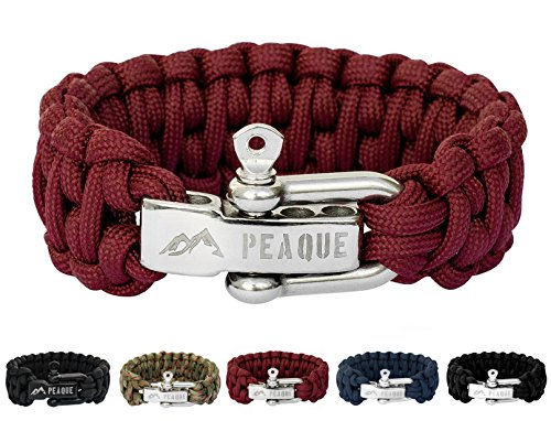 PEAQUE Survival Armband aus Paracord in dunkel-rot - inkl. eBook - Verstellbarer Edelstahlverschluss - breites Überlebens-Armband aus echter Fallschirmschnur (rot-braun)