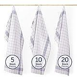 Blumtal Premium Geschirrtücher 10er Set - Hochwertige Geschirrhandtücher, 100% Baumwolle, blau kariert -