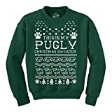 Crazy Dog Tshirts - Crew Neck Sweatshirt Pugly Christmas Sweater Funny Pet Pug Dog Shirt -L - Herren - L