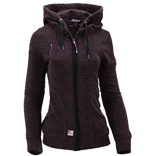 Geographical Norway Damen Fleece Jacke Fleecejacke Pullover Kapuze Gr 36 S braun