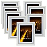 PETAFLOP Bilderrahmen 13x18 ohne Passepartout Bilderrahmen 10 x 15 cm weiß mit Passepartout, 8er Set