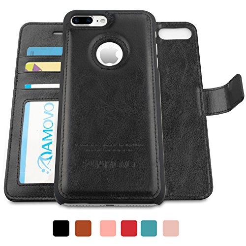 AMOVO iPhone 7 Ledertasche, iPhone 7 Leder Schutzhülle [Abnehmbare Brieftasche] [2 in 1] Lederhülle pour iPhone 7 mit Geschenk-Paket (iPhone 7, Coral Pink) Noir