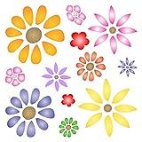 Flower Power Schablone–wiederverwendbar Daisy Flowers Blossom Floral Wand Schablone–Vorlage, auf Papier Projekte Scrapbook Tagebuch Wände Böden Stoff Möbel Glas Holz usw. m