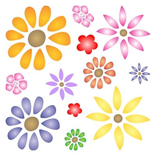Flower Power Schablone-wiederverwendbar Daisy Flowers Blossom Floral Wand Schablone-Vorlage, auf Papier Projekte Scrapbook Tagebuch Wände Böden Stoff Möbel Glas Holz usw. Größe S - Scrapbook-stoff