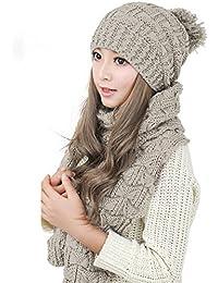 Demarkt Bonnet écharpe kit - Fille Femme Hiver Bonnet Crochet Chapeaux en Tricot Tricoté Béret