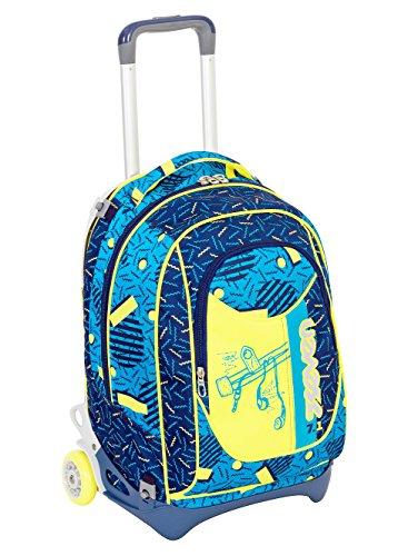 TROLLEY SEVEN NEW JACK - SWAG BOY - Blu Giallo - SGANCIABILE e LAVABILE - Scuola e viaggio