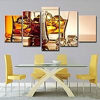 SHINERING 5Wall Art Whiskey Ice Wine Painting Room Decoration Frameless, 10Cm × 25Cm × 1Pcs