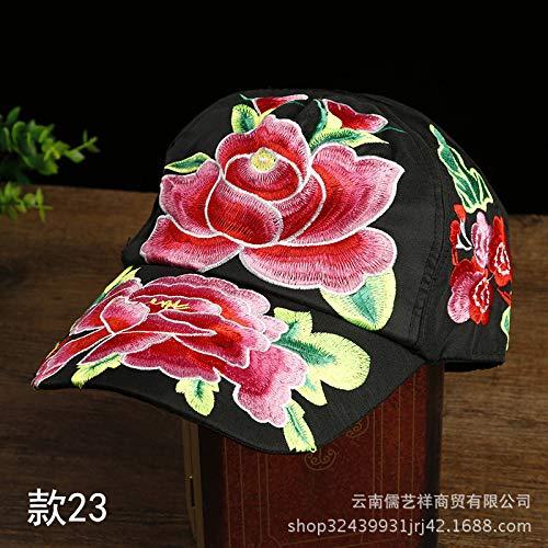 Gangsta Lady Kostüm - mlpnko Vintage bestickte Mütze ethnischen Stil Stickerei Blume Lady Cap Stickerei Baseball Cap Abschnitt 23 einstellbar