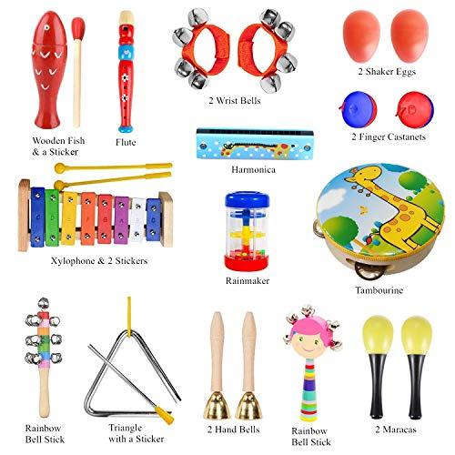 Pachock 23PCS Instrument de Musique pour Enfant, Les Enfants d'âge Préscolaire et Les Bébés Instruments de Percussion en Bois et Instruments avec Sac de Transport Img 2 Zoom