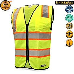 KwikSafety EMPEROR | Class 2 Safety Contrasting Construction Vest | 360° High Visibility Reflective Work Wear | Hi Vis Yellow Biker Construction Security Waistcoat | Men Women Slim Fit | Small