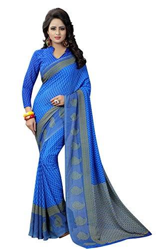 Sarees (Rangrasiya Saree For Women Party Wear Half pallu sari Offer Design Below 500 Rupees Latest Design Under 300 Combo Georgette New Collection 2017 In Latest With Design Blouse Beautiful For Women Party Wear Sadi Offer new Collection Kanchipuram Bollywood Bhagalpuri art silk Embroidered Free Size Mirror Work Marriage Wear Sarees Wedding Casual Design With Blouse Material) (Blue Single)  available at amazon for Rs.429