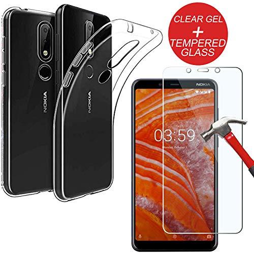 Mobile Stuff - Custodia Protettiva per Nokia 3.1 Plus, in Gel TPU Trasparente e Vetro temperato, Ultra Sottile, Resistente ai Graffi, in Morbido Silicone + Vetro temperato per Nokia 3.1 Plus