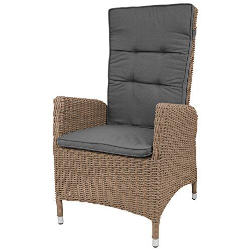 Lounge Polyrattan Garten Sessel Rattansessel Relaxsessel, Rückenteil stufenlos verstellbar, Cappuccinofarben + Sitzauflage Grau