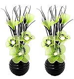 Flourish 796167 Fleurs artificielles en soie avec vase ovale pourpre noir violet 75cm, Verre, Pair of Black/Green, 10x10x32 cm